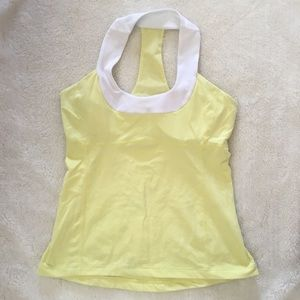 Lululemon Yellow White Scoop Neck Tank Top Size 10